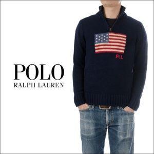 Ralph Lauren Boys' Half-Zip Flag Sweater NEW $75